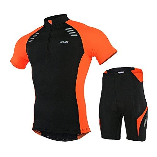 GWELL Herren Radtrikot Set Fahrradbekleidung Schnell Trocken Fahrrad Trikot Kurzarm + Radhose mit 3D Sitzpolster orange XL