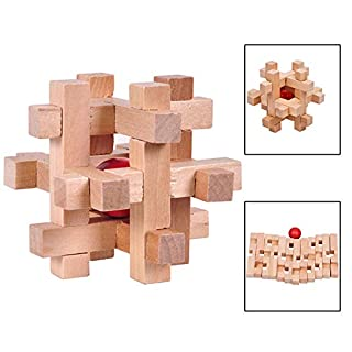 yanbird Wooden Kong Ming Luban Lock Ball in Cage Puzzle Educational Toys Brain Teaser