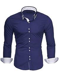 MERISH Slim Fit Hommes Chemise à manches longue double col Chemise bicolore adapté pour toutes les occasions Modell 206