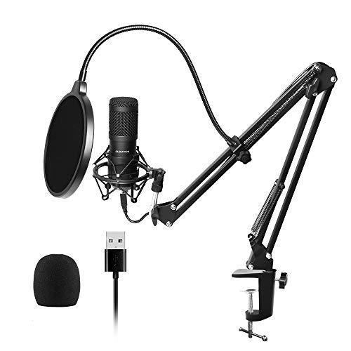 USB Mikrofon, SUDOTACK professionelles podcast mikrofon 96KHZ / 24Bit Studio Cardioid-Kondensatormikrofon-Kit mit Soundkarte Boom Arm Shock Mount Pop-Filter für Skype, Rundfunk, Youtube,Podcasts uvm