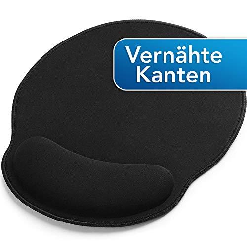 Sidorenko Mauspad mit Gelkissen - 26x24cm - Ergonomisches Mauspad mit Vernähte Kanten - Mousepad mit Handauflage für schonende Handgelenk Haltung - schwarz