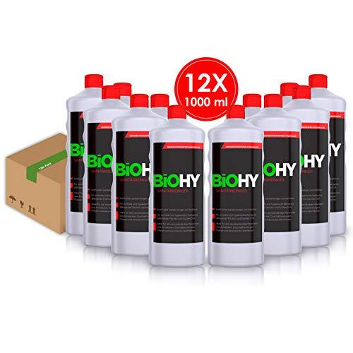 BIOHY Sanitärreiniger 12er Pack (12x1Liter) kraftvoller Bad Reiniger, Toilettenreiniger, Kalklöser, fruchtiger Duft, für glänzende Fließen/Flächen - Profi Bio-Kalkreiniger, Öko Reinigungsmittel
