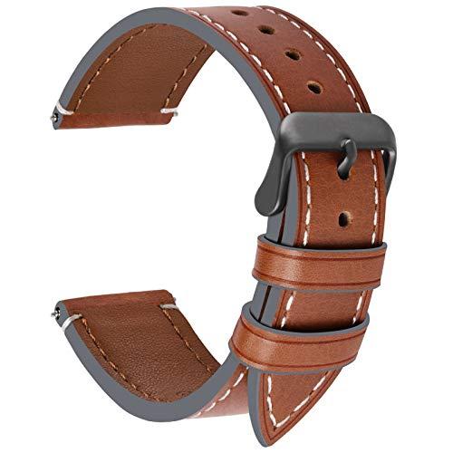 Fullmosa Uhrenarmband 22mm Leder in 6 Farben,Wax Series Echtes Ersatz Armband für 22mm,Dunkelbraun + Rauchgraue Schnalle 22mm - Notifier Martian Uhrenarmband Für