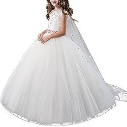 4336eb0b89f8 OBEEII Vestito Elegante da Ragazza Festa Matrimonio Damigella Donna Sposa  Cerimonia Prima Comunione Battesimo Carnevale Ballerina