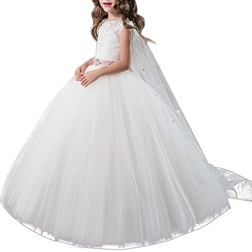 OBEEII Mädchen Kinder Mit Kleider Blumenmädchenkleider Hochzeitskleid Maxikleid Festlich...