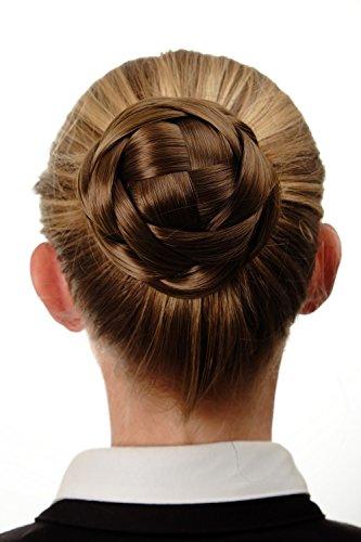 WIG ME UP - Haarknoten Dutt Haarteil aufwendig geflochten Brautschmuck Tracht Steck-Kamm Haarnadel Braun Goldbraun Q399D-12 -