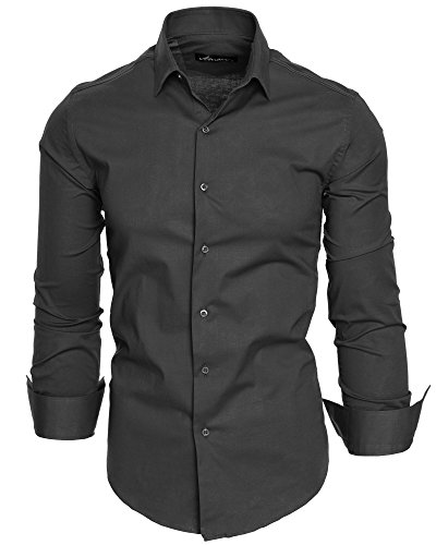 Amaci&Sons Herren Slim Fit Hemd Bügelleicht Business Freizeit Shirt 50003 Anthrazit L
