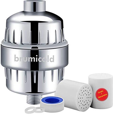 Brumicold Filtro agua para la ducha F-01 universal, reduce el cloro, antical, ablanda el agua, elimina metales pesados, elimina irritantes perjudiciales para la piel y ojos, y un recambio gratis
