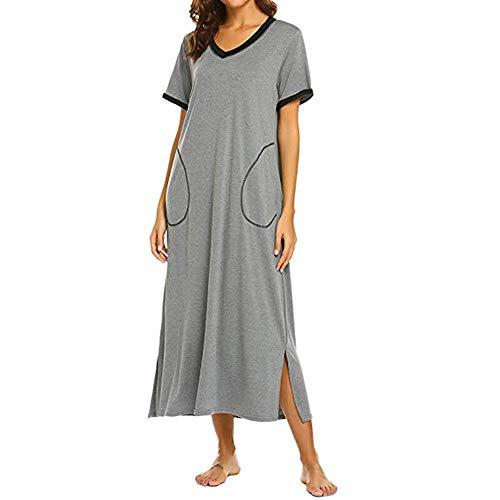 Manadlian Damen Nachthemd Kurze Ärmel Nachthemd Ultra weich In voller Länge Nachtwäsche Kleid