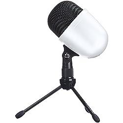 AmazonBasics Mini microphone de bureau à condensateur, Blanc