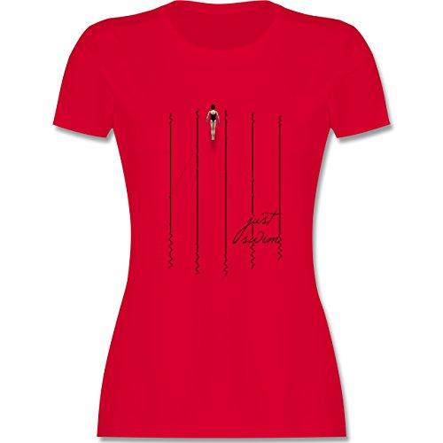 Wassersport - Just swim - tailliertes Premium T-Shirt mit Rundhalsausschnitt für Damen Rot