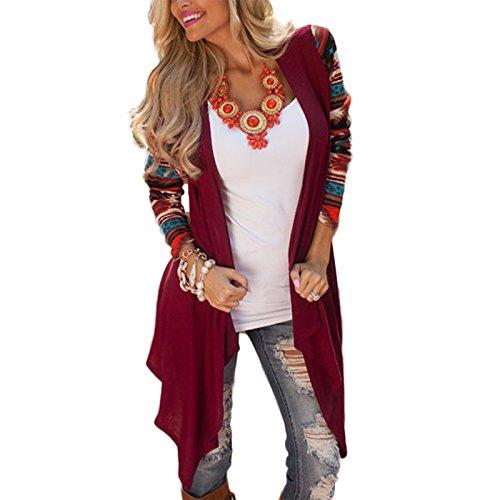 Fanmay Damen Strickjacke Mantel Langshirt Irregular Blusen Ethno-Style Frauen Cardigan Langarm Strickmantel Outwear Tops Outdoor Pullover (L, Weinrot)
