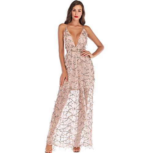 (A-Linie Partykleid Mode Sexy Maxikleid Ärmellos Camisole Abendkleid Rückenfrei Bodycon Kleid Mit V-Ausschnitt Off Shoulder Paillettenkleid Abend Prom Kostüm Dress Resplend)