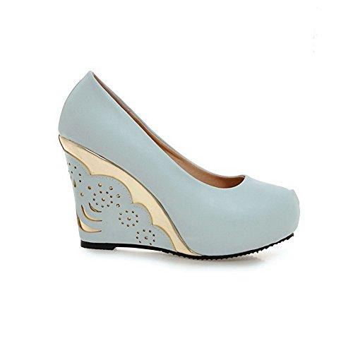 AgooLar Femme Rond à Talon Haut Matière Souple Couleur Unie Tire Chaussures Légeres Bleu