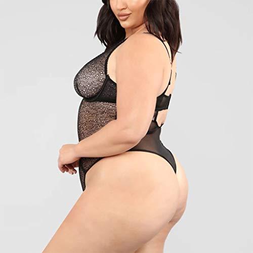 Rabbiter Reizwäsche Sexy Dessous V-Ausschnitt Strapsen Lingerie Damen Body Erotische Unterwäsche Frauen mit Strapsgürtel, (L) - 9
