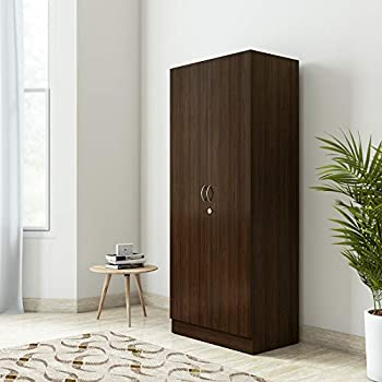 Amazon Brand - Solimo Pyxis Engineered Wood 2-Door Wardrobe (Walnut Finish)