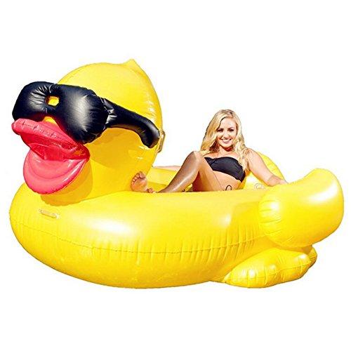 Hochwertige Pool Float Schwimmendes Bett Aufblasbare große gelbe Enten-sich hin- und herbewegende Reihe, Swimmingpool-Auftrieb aufblasbares Spielzeug-Erwachsener u. Kind, das Bett-Wasser-Erholungs-Stuhl 190 * 155 * 95CM schwimmt KKY-ENTER