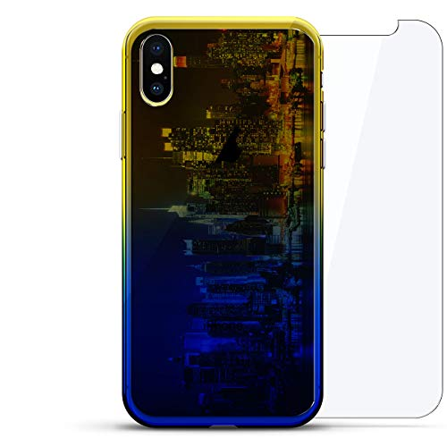 Luxendary Gradient Series 360 Bundle: Transparente ultradünne Silikonhülle + gehärtetes Glas für iPhone XS Max (6,5 Zoll), Cities & States: Colorful New York City, Blau (Dusk Blue) - Chrome New York Glas