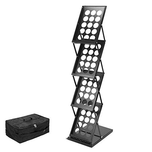Generic Display Stand A4-Boden-Prospektständer Prospekthalter Flyerständer 1240 x 415 x 275 mm, 4 Ausstellung Trade Show-stöckig mit Tasche, Schwarz