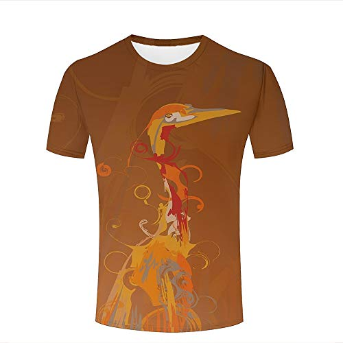 Mens 3D Printed T-Shirts Orange Watercolor Abstract Design Bird Pattern Creative Novelty Short Sleeve Tops Tees S