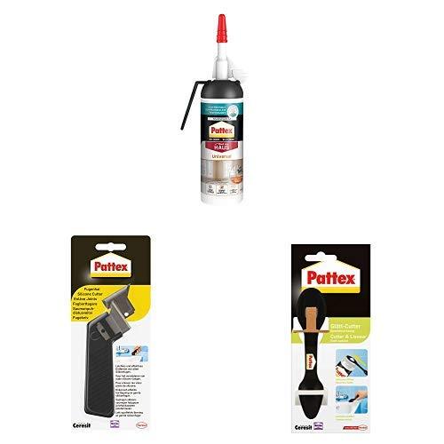 Pattex Universal Silikon Spender, vielseitig einsetzbare Dichtmasse 1x100ml, Pattex Fugenhai 1er Pack mit Ersatzklinge & Pattex Glätt-Cutter 1er Pack