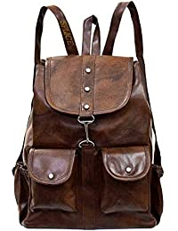 SPLICE PU Leather Backpack School Bag Student Backpack Women Travel bag 6 L Backpack (M, Brown)
