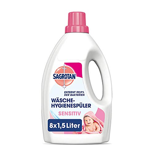 Sagrotan Wäsche-Hygienespüler Sensitiv – Desinfektionsspüler für hygienisch saubere und frische Wäsche – 8 x 1,5 l Reiniger im praktischen Vorteilspack