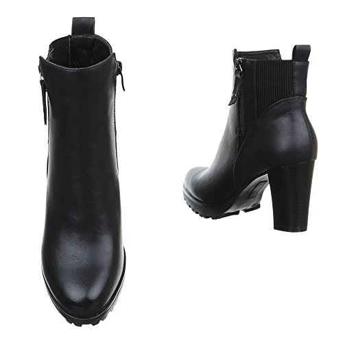 Damen Schuhe High Heels Schlupfstiefel Reißverschluss Klassische Stiefeletten Stiefeletten Pump Schwarz