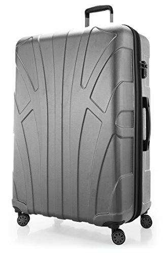 Suitline - Valigia Trolley rigido grande ABS TSA 4 ruote, 85 cm, 160 litres, Argento