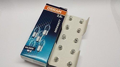 10 er Pack Osram Halogen Miniwatt 2,8V 0,85A P13,5s Glühlbirne Lampe Fahrrad Taschenlampe -