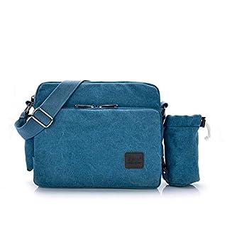 WYFDM Schultertasche, Vintage Unisex Tasche in Leinwand Schultertasche Casual Man Schultertasche Arbeit, Schule, täglichen Gebrauch, viel Innenraum, Lüftung und Haltbarkeit,Blue