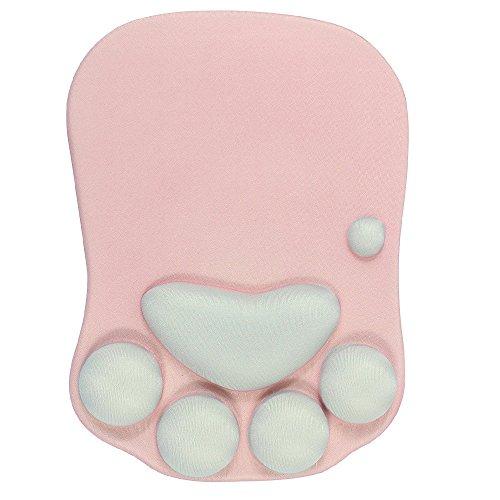 Beyme Katze Paw Mauspad mit Handauflage Silkon Gel Office Gaming Mouse Pad - 273 x 200 x 23mm (Cat pink)