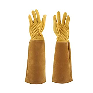 Dewin Gardening Gloves - Pruning Gloves, Rose Pruning Leather Gloves, Wearproof Puncture Proof Long Work Glove, 1Pair (Color : Yellow, Size : S)