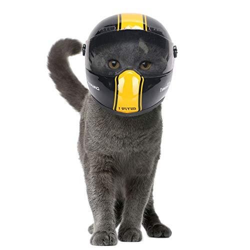 JYNQR Welpe Katze Hund Helme Haustier, Kopfschutz Sicherer Hut Kleine Outdoor Caps Motorräder Haustier Mini Helm - 5 Farbe,aYellow