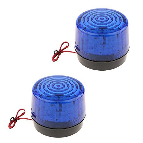 MagiDeal 2 Stk. Rund Armlampe LED Warnlichter Signallampen für Sicherheitszelle, Straßenzugang, Baustelle -Blau