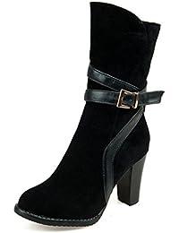 ZQ QX L'automne et l'hiver épais à tête ronde base plate, augmenter les Bottes courtes Bottes courtes Bottes femme sauvage, noir,38