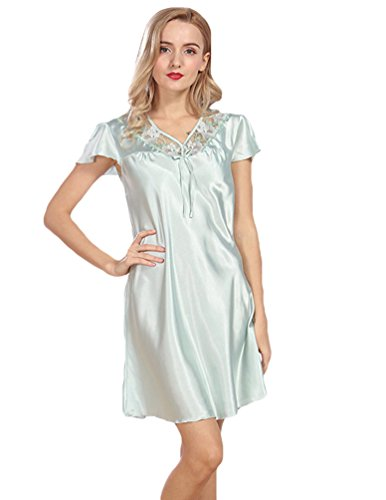 WanYang Femmes Robe Pyjama Vêtement En Soie Imitant Satin Bain Nuisette Chemise Col V Bleu clair