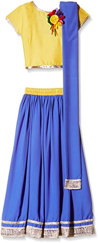 Atayant Girl Lehenga Choli (ATAYK_041_5:6YR_Gold:Blue_XL)