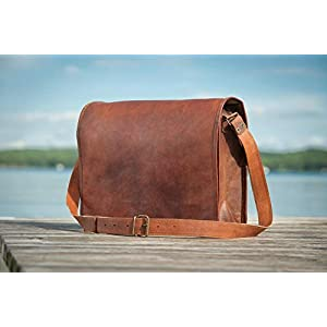 13 Zoll Vintage Crossbody echtes Leder Umhängetasche FULL FLAP Laptop Tasche Eco-Friendly