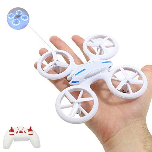 """Rejuvenation-skim-Planet® hochwertige kleine mini Drohne / Drone mit auffälliger LED Beleuchtung (17,6 cm) / Quadrocopter sehr stabiler Flug --- """"inkl. 2,4 GHz / 2.4 GHz Funkfernbedienung - Komplettpaket - inkl. Akku - Ladegerät - 6 Achsen Gyro - 4 Kanal"""