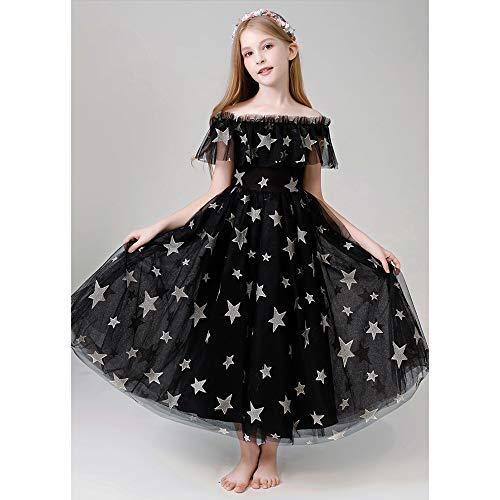 in, One-Shoulder Flower Girl Hochzeit Brautjungfer Kleid Formale Party Schönheit Seite Kleid Kleid Weihnachten Geburtstagsgeschenk,Black,140cm ()