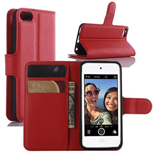 HualuBro iPod Touch 7 Hülle, Leder Brieftasche Etui LederHülle Tasche Schutzhülle HandyHülle Handytasche Leather Wallet Flip Case Cover für Apple iPod Touch 7g 7th Generation 2019 (Rot)