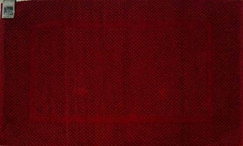 Zucchi solotuo. tappeto bagno tessuto a mano da 1550 gr/m2 cm. 60x100 col. 1106 rubino 100% cotone.