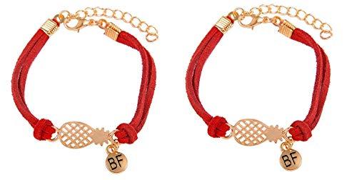 Imagen de strass & paillettes lote de dos pulseras de gamuza roja con una piña dorada y una medalla bf. pulsera de piña best friend. pulsera para su mejor amiga