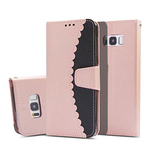 Flymaff Schutzhülle für Samsung Galaxy S8 Plus, mit Glas-Displayschutzfolie, PU-Leder, Brieftaschen-Schutzhülle mit Ständer und Klapphülle für Samsung Galaxy S8 Plus