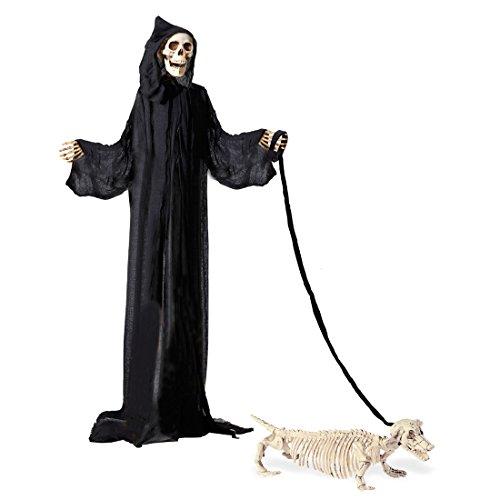 Amakando Hundeskelett mit Leine - 55cm - Hunde Gerippe Horror Grusel Partydeko Knochen Dekofigur Halloween Dekoration Tiere Deko Skelett Dackel Hund