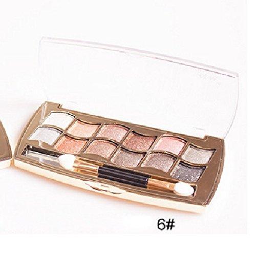 Internet 12 couleurs femmes Pro Shimmer Eyeshadow Palette & brosse cosmétiques maquillage Set 6#