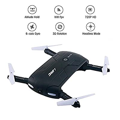 Foldable Pocket Selfie Quadcopter Drone with 2MP Camera, JJRC H37 Elfie 720P HD Wifi FPV Altitude Hold & Headless Mode Phone Control RC Quadcopter