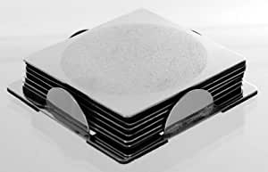 Set of 6 Stainless Steel Square Coaster Set with Holder