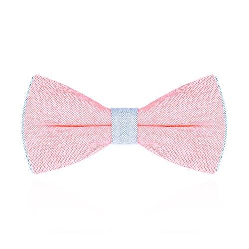 Autiga Fliege Herren Schleife Schlips zweifarbig Baumwolle gebunden Hochzeit Konfirmation Anzug Smoking rosa-hellblau (Smoking Baumwolle)